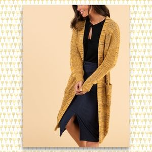 Cable Knit Dreamy Duster - Mustard